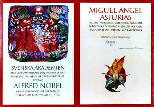 Нобелевский диплом Мигеля Астуриаса