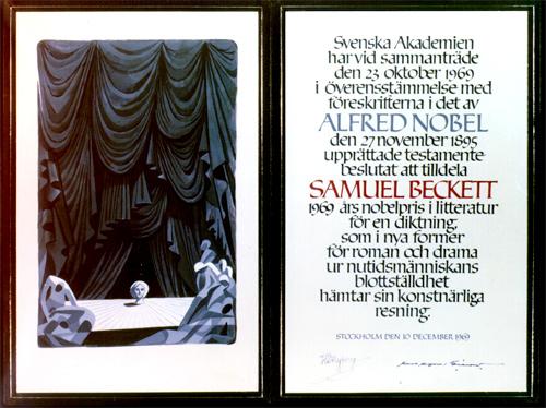 Нобелевский диплом Сэмюэла Беккета