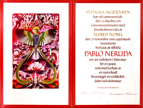 Нобелевский диплом Пабло Неруды