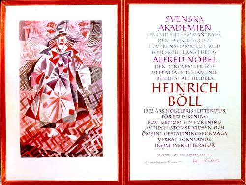 Нобелевский диплом Генриха Белля