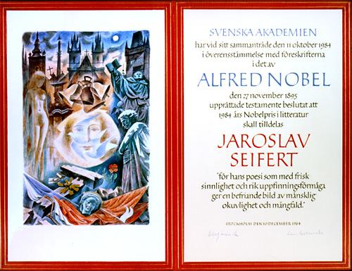 Нобелевский диплом Ярослава Сейферта
