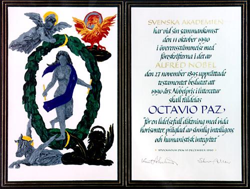 Нобелевский диплом Октавио Паса
