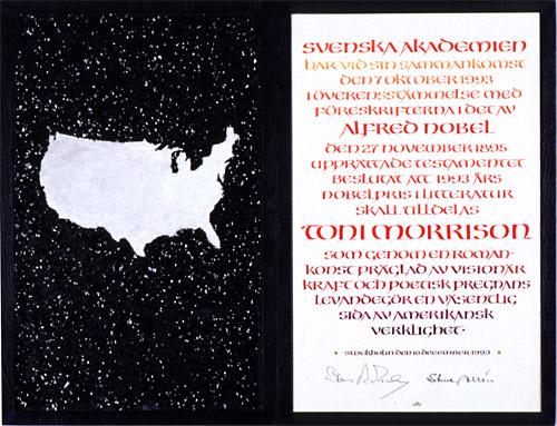 Нобелевский диплом Тони Моррисон