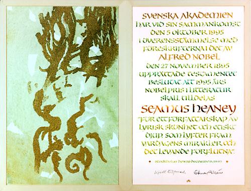 Нобелевский диплом Шеймуса Хини