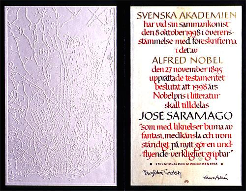 Нобелевский диплом Жозе Сарамаго