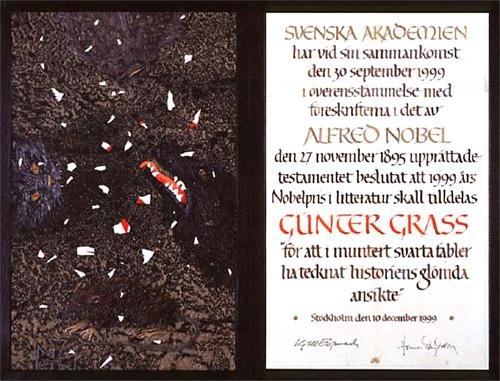 Нобелевский диплом Гюнтера Грасса