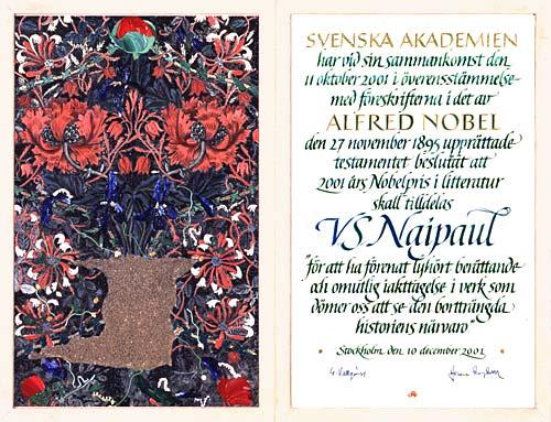 Нобелевский диплом Найпола