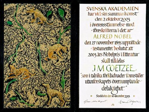 Нобелевский диплом Кутзее