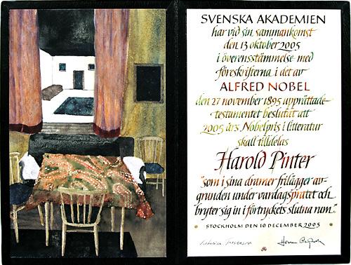 Нобелевский диплом Гарольда Пинтера