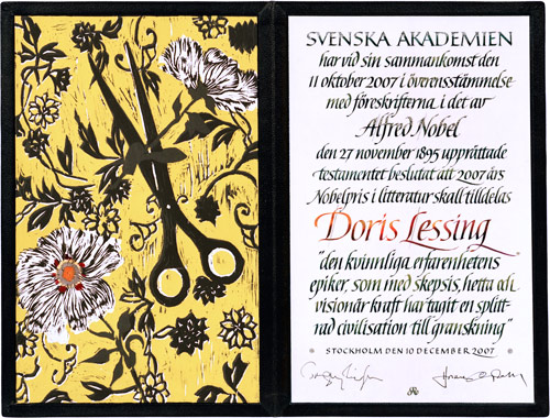 Нобелевский диплом Дорис Лессинг