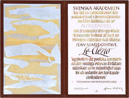 Нобелевский диплом Леклезио