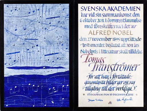 Нобелевский диплом Тумаса Транстрёмера